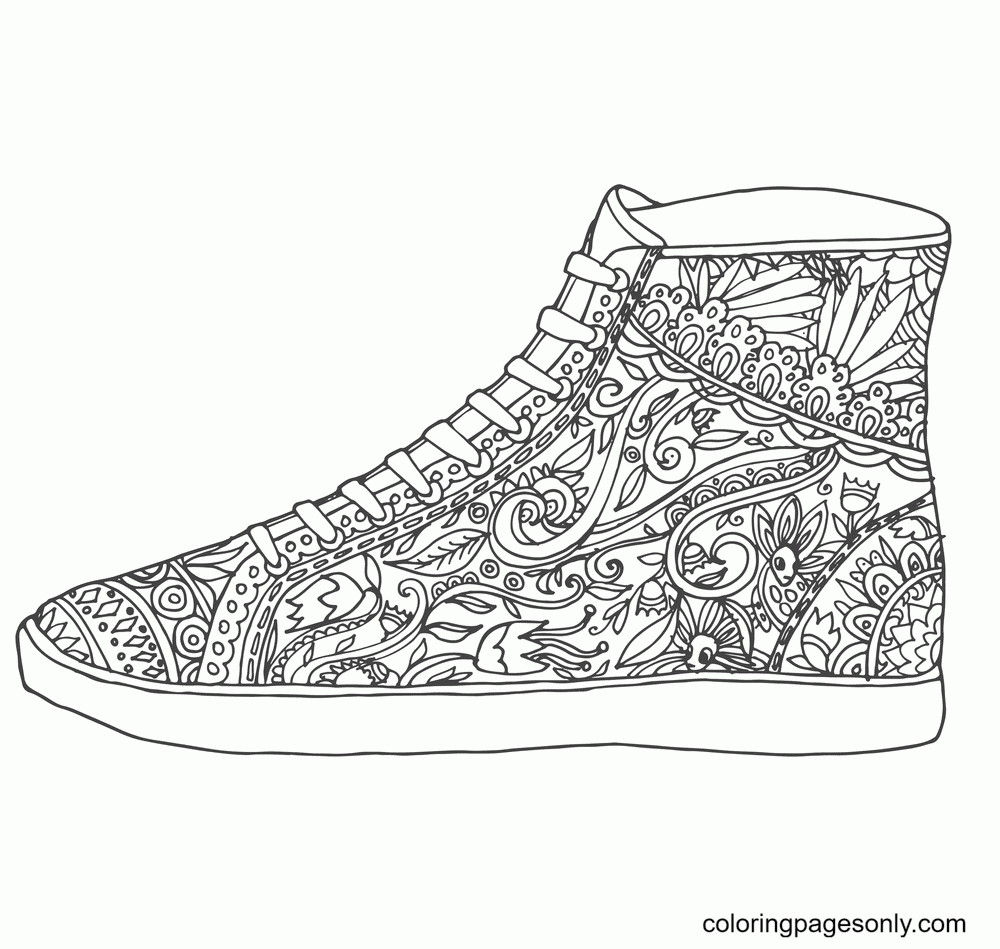 Converse Shoes Printable Coloring Page