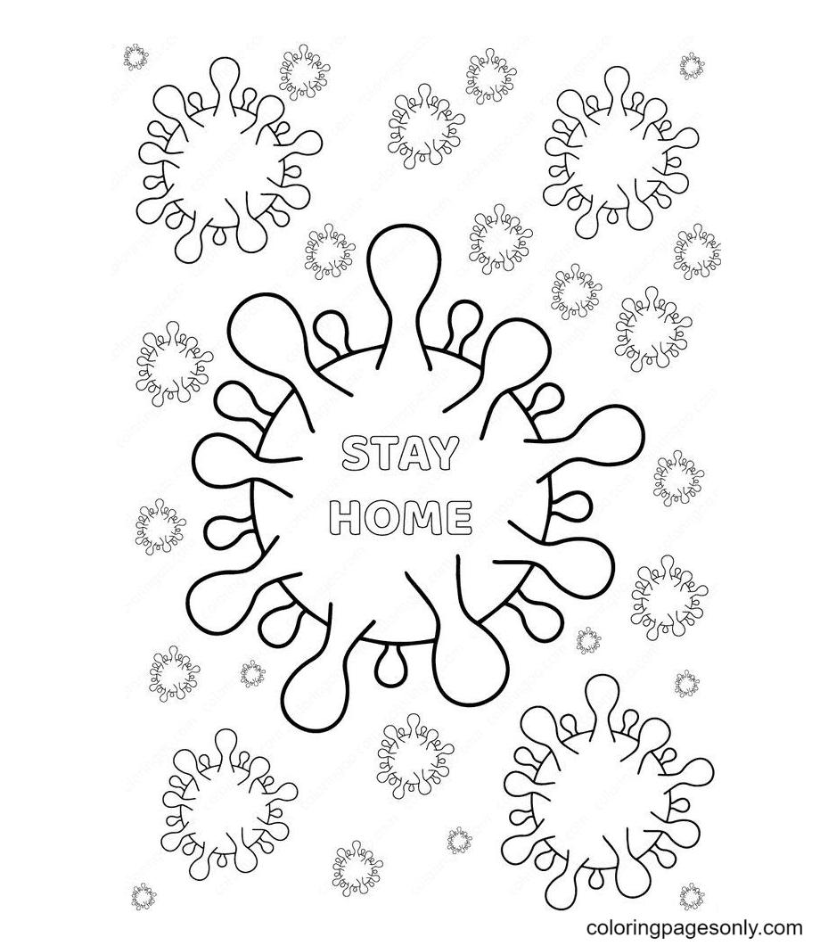 Corona Virus Covid 19 Free Printable Coloring Page