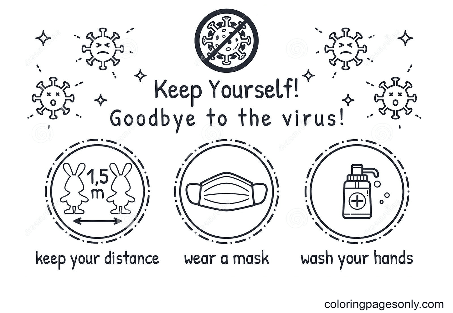 Coronavirus COVID-19 Pandemic Prevention Measures Coloring Page