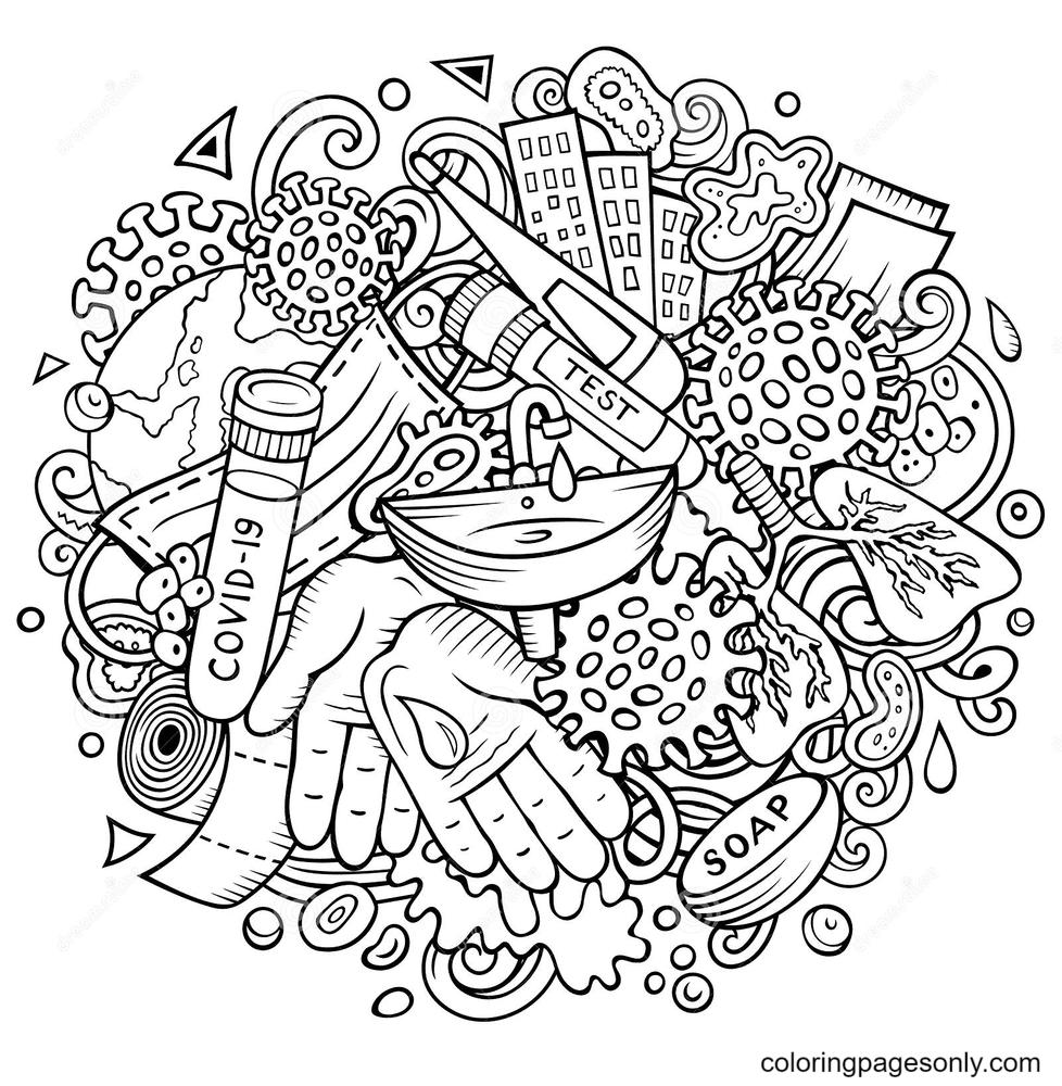 Coronavirus Pandemic Coloring Page