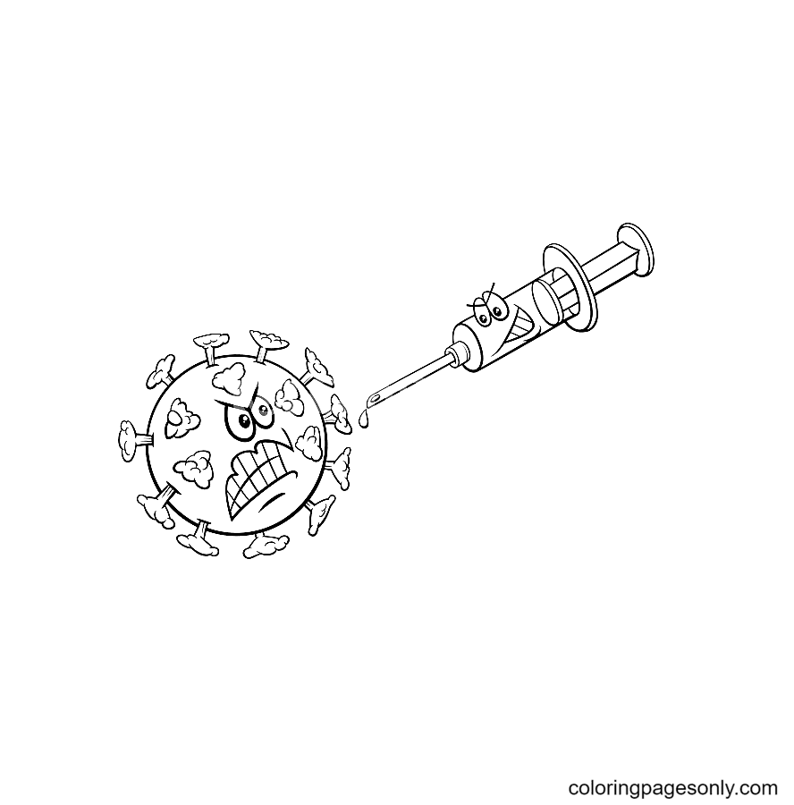 Coronavirus and vaccine Coloring Pages