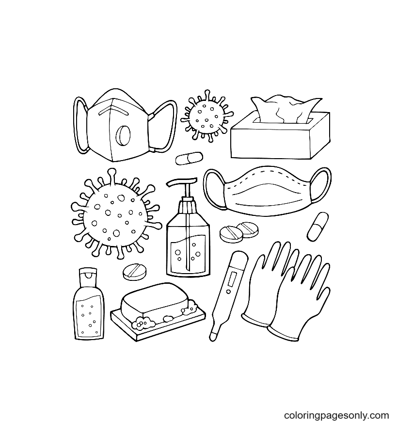 Covid-19 epidemic prevention kit Coloring Page
