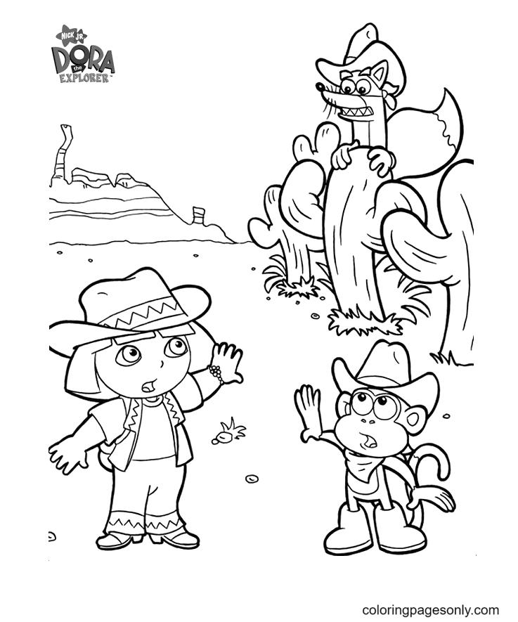 Cowboy Dora and Cowboy Boots Coloring Page