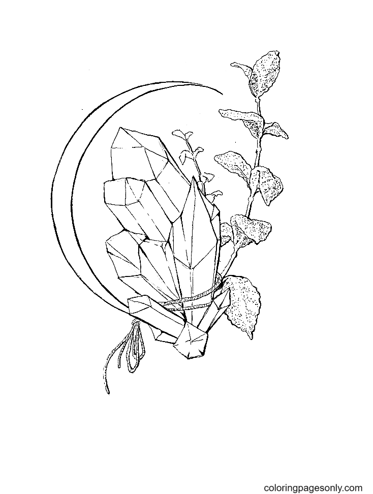 Crescent Mint Crystal Coloring Page