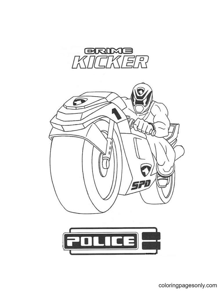 Crime Kicker Police Coloring Page