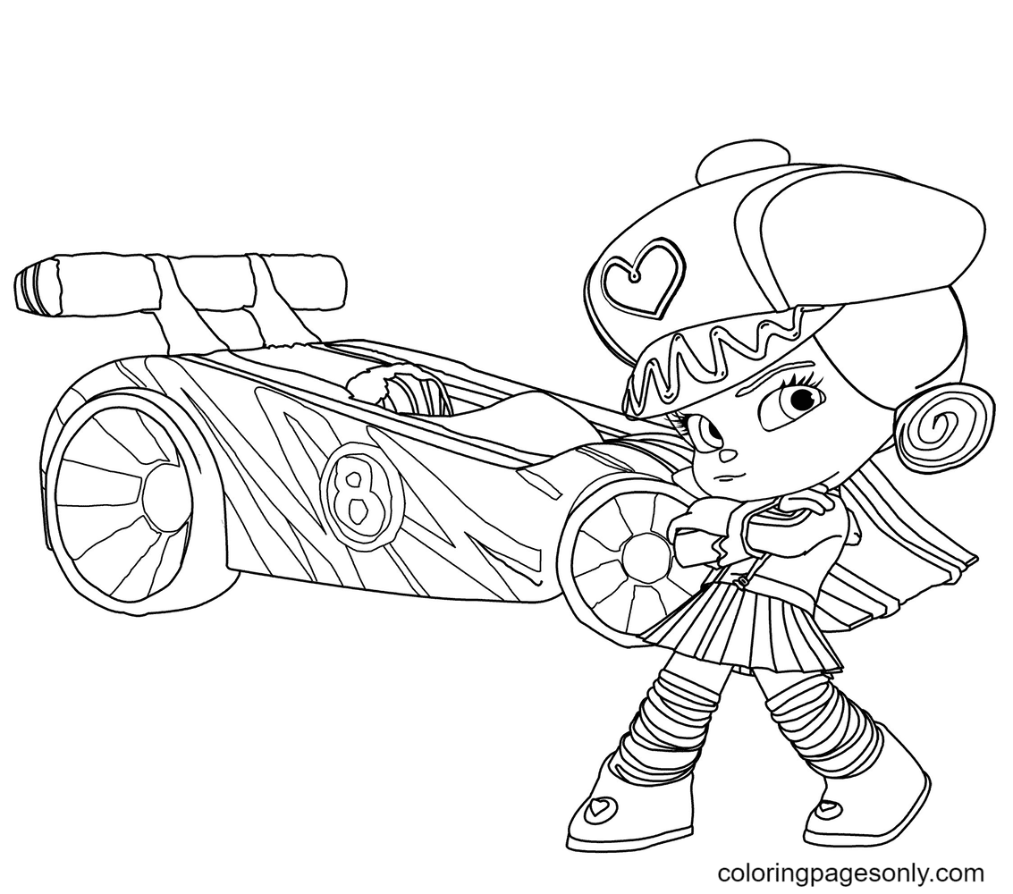 Crumbelina and Her Racing Car Coloring Page