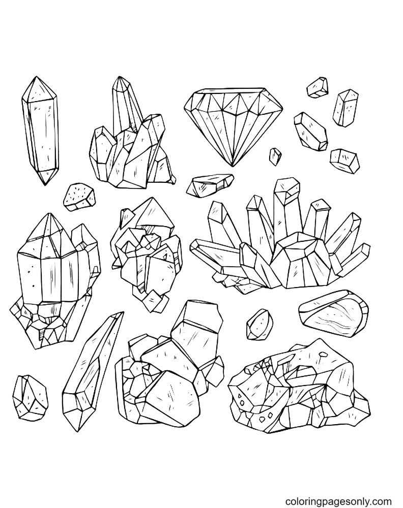 Crystal Gems Coloring Page