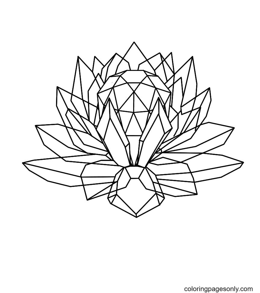 Crystal Lotus Coloring Page