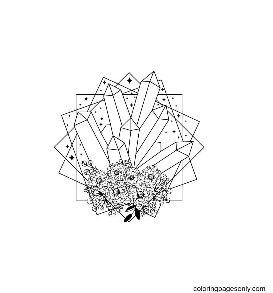Crystal and Flowers Coloring Page