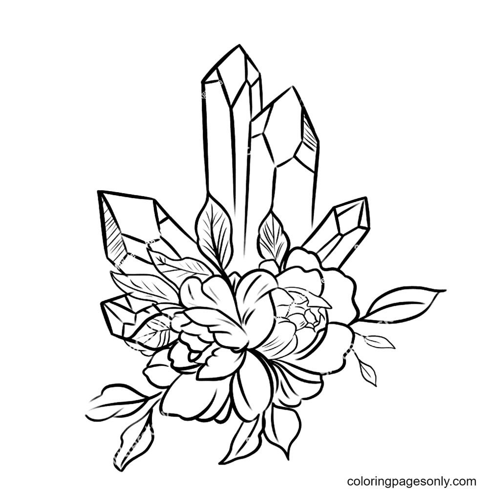 Crystal magic Flowers Coloring Page
