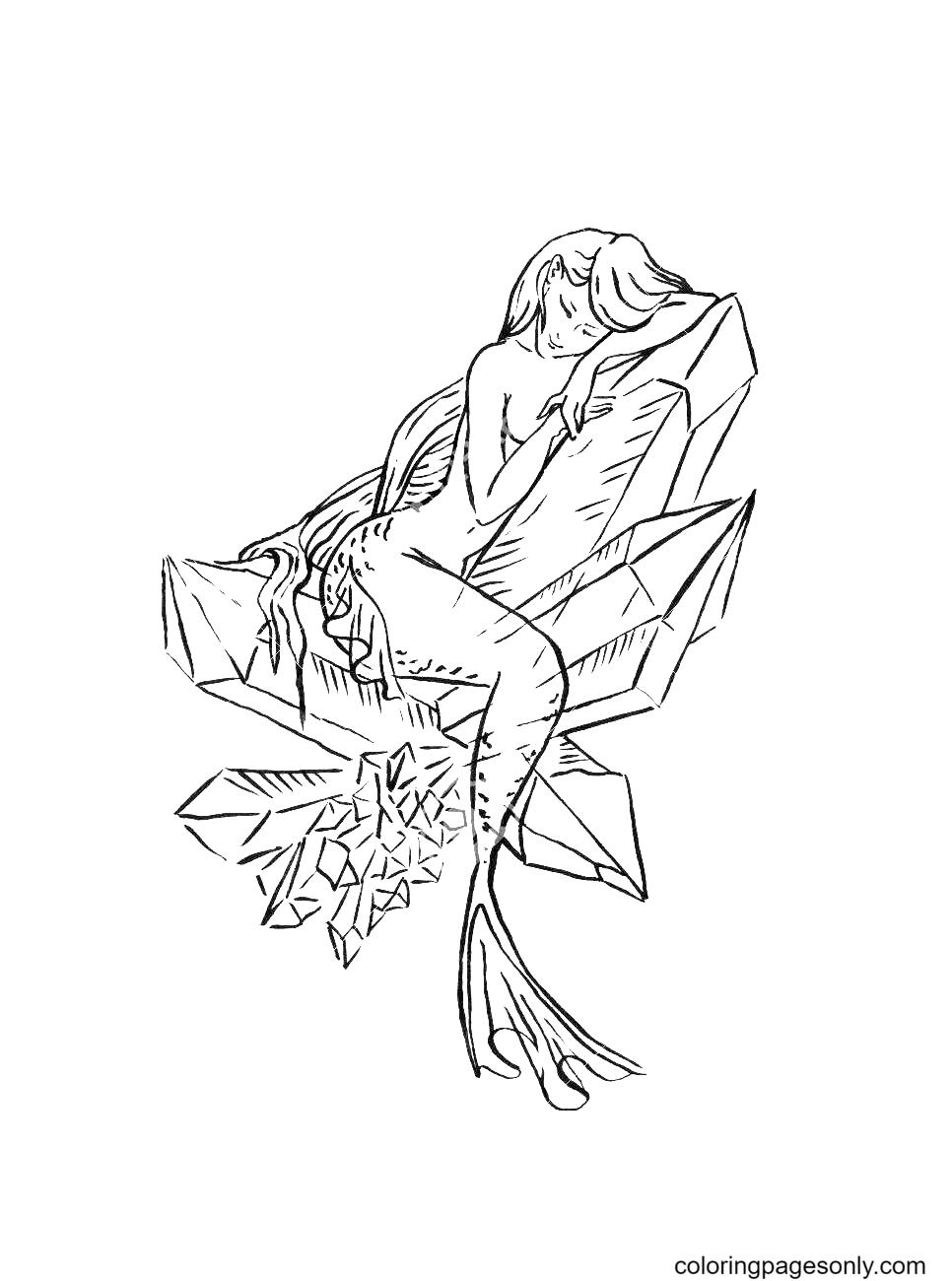 Crystal mermaid Coloring Page