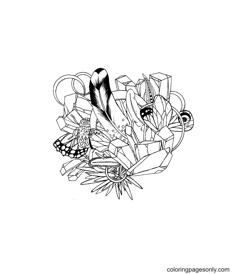 Crystals And Trinkets Coloring Page