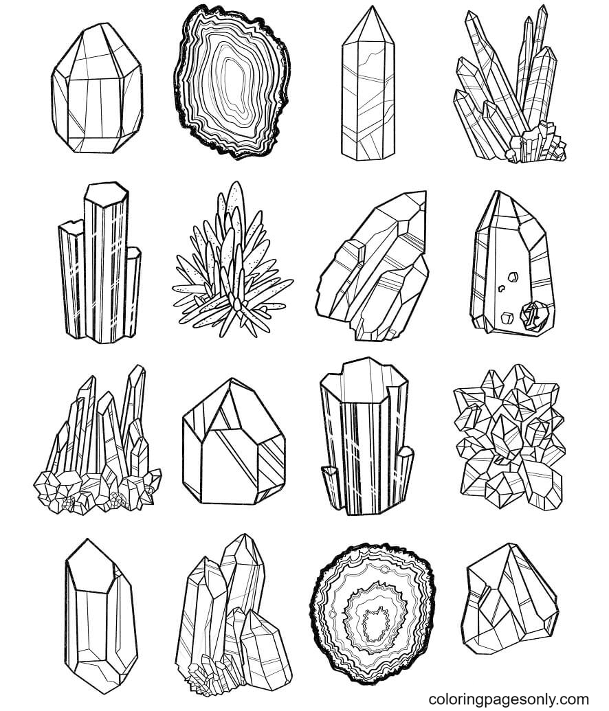 Crystals Free Coloring Page