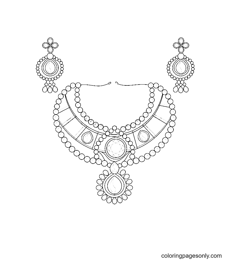 Crystals Neck Jewelry and Earrings Coloring Page