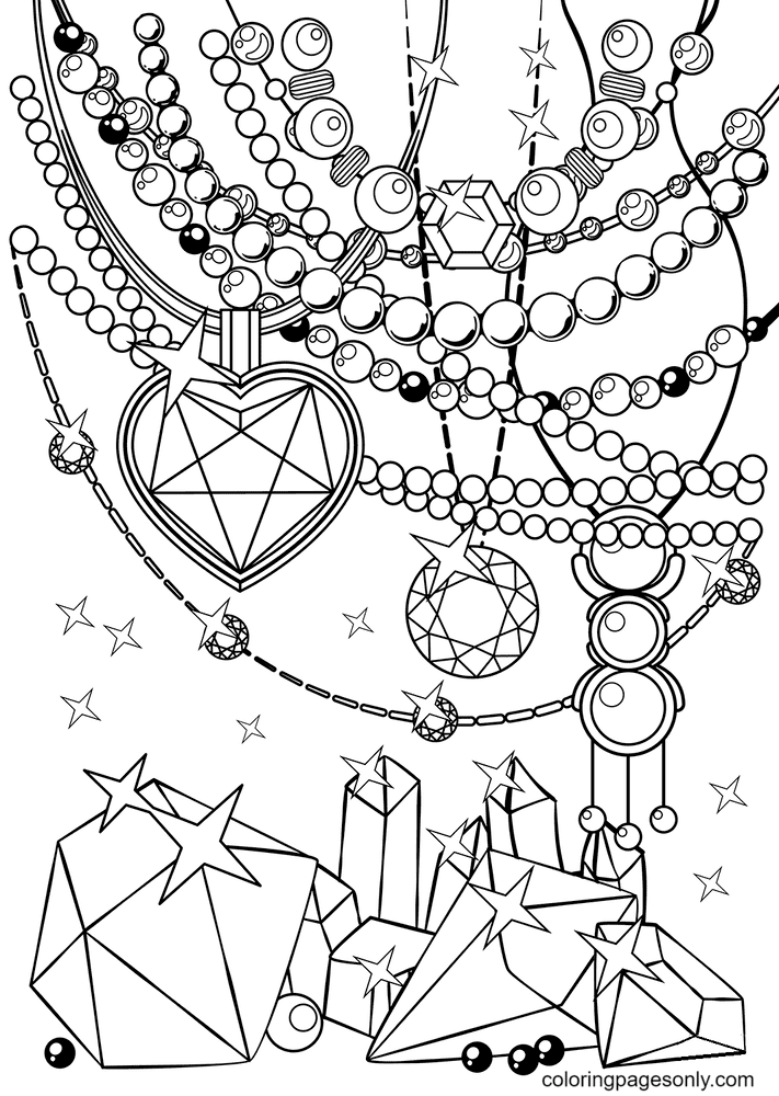 Crystals and Beads Coloring Page