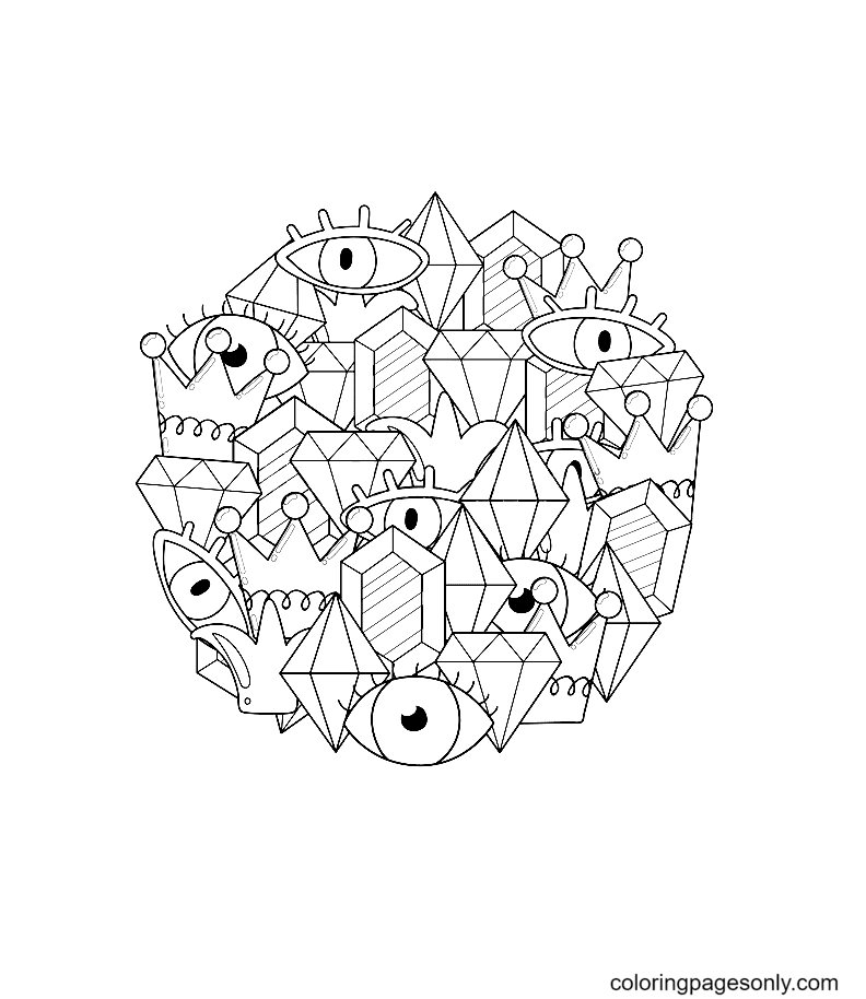 Crystals and eyes Coloring Page