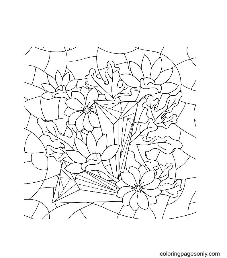 Crystals and flowers Coloring Page