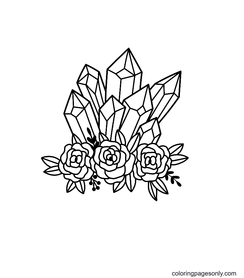 Crystals with Roses Coloring Page