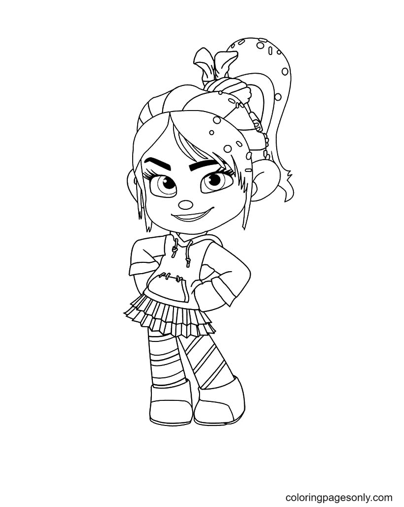 Cute Beautiful Vanellope Coloring Page