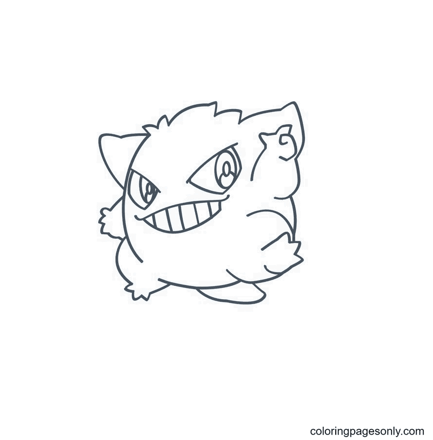 Cute Gengar Pokemon Coloring Page