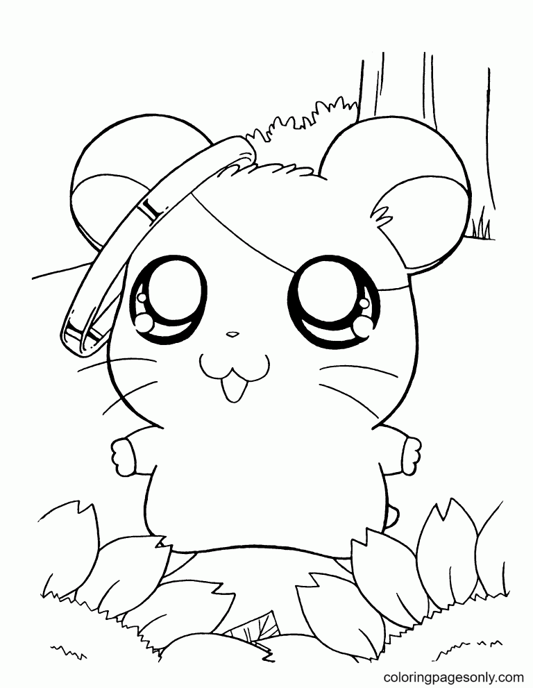 Cute Hamster Free Coloring Page