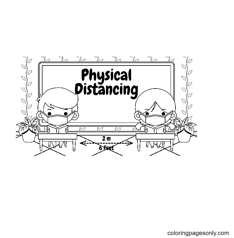 Cute Kids Wearing Medical Mask Studying In Classroom Keep Physical Distancing Coloring Page