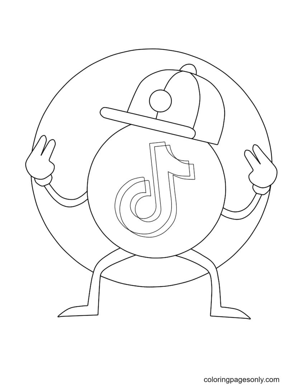 Cute TikTok Logo Coloring Page