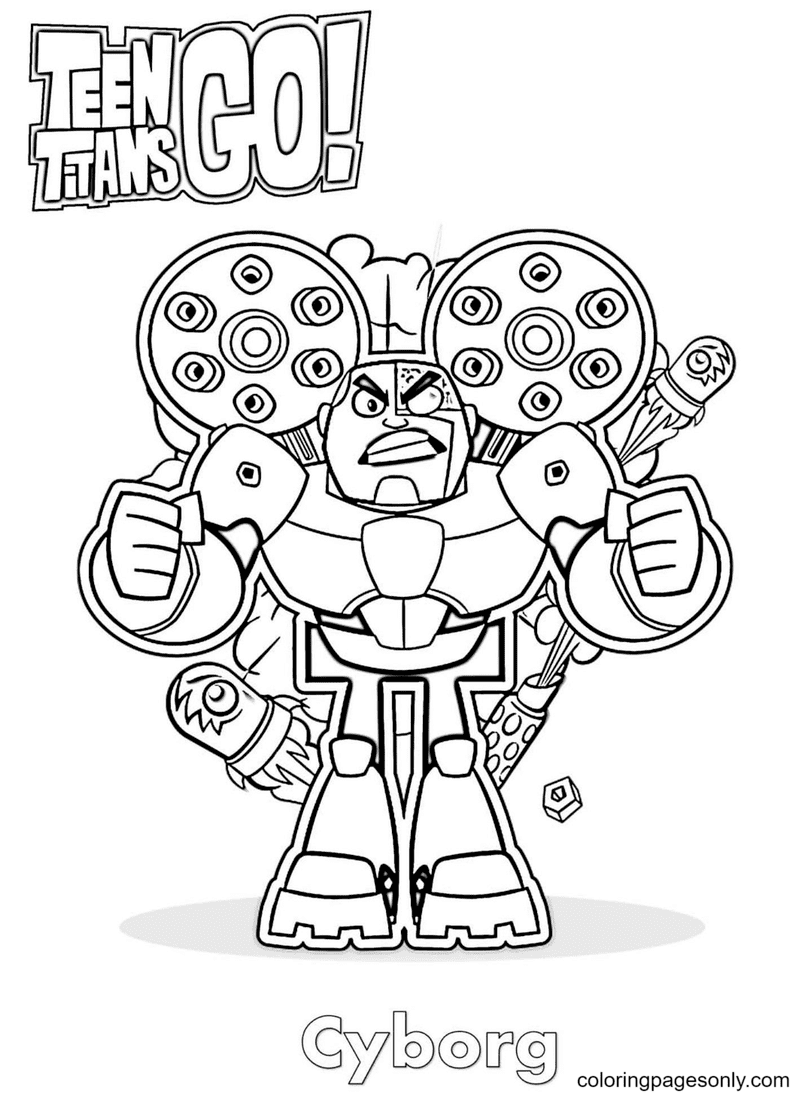Cyborg Teen Titans Go Coloring Page