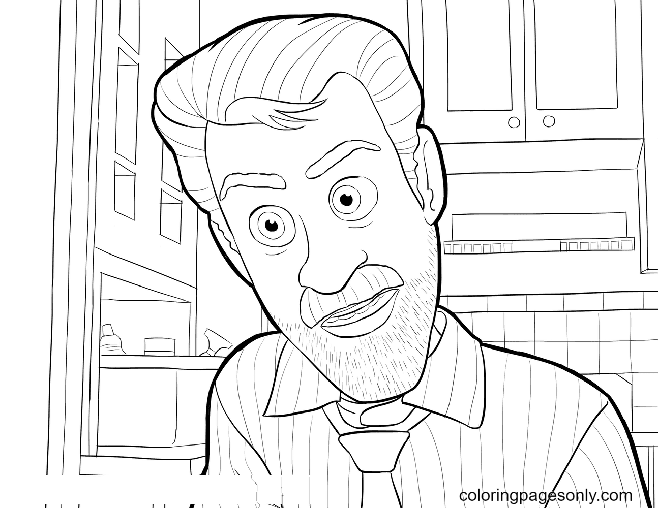 Dad Riley from Inside Out Coloring Page