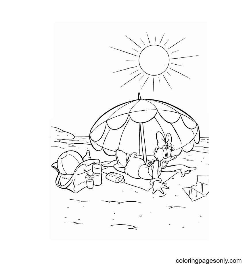 Daisy Duck At The Beach Coloring Page