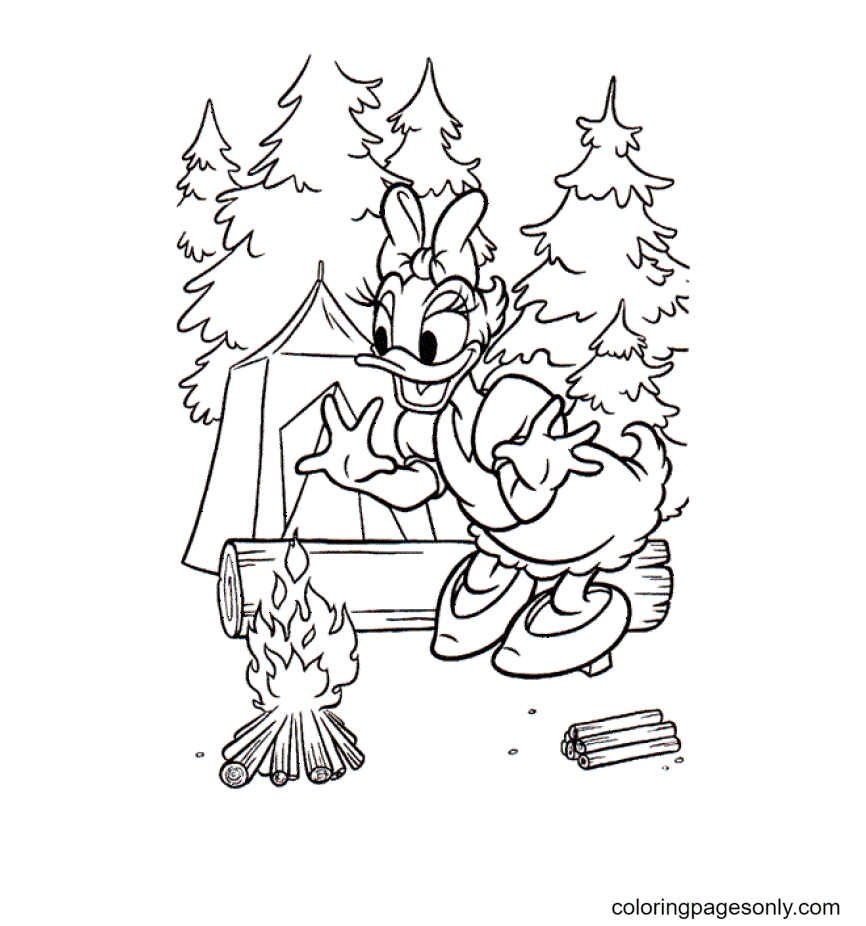 Daisy Duck Camping Coloring Page