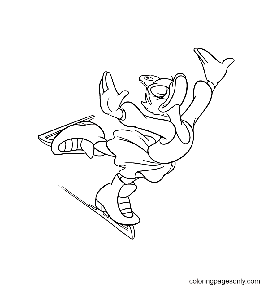 Daisy Duck Figure Skater Coloring Page