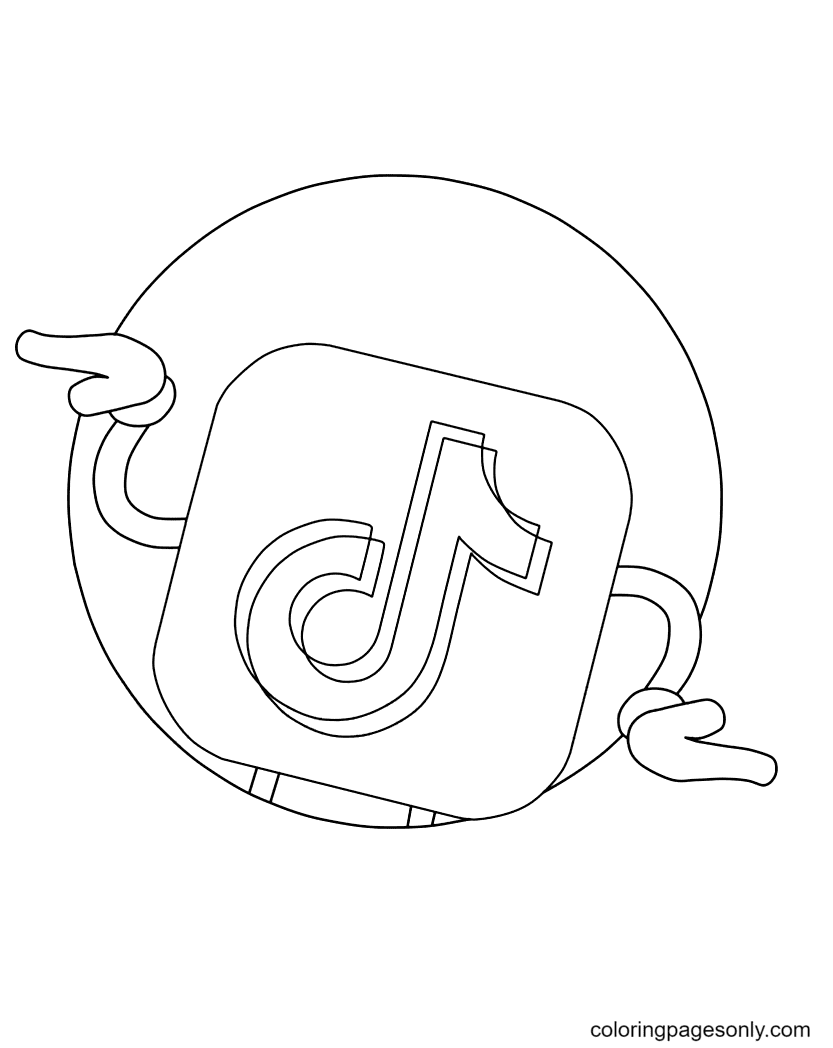Dancing TikTok logo Coloring Page