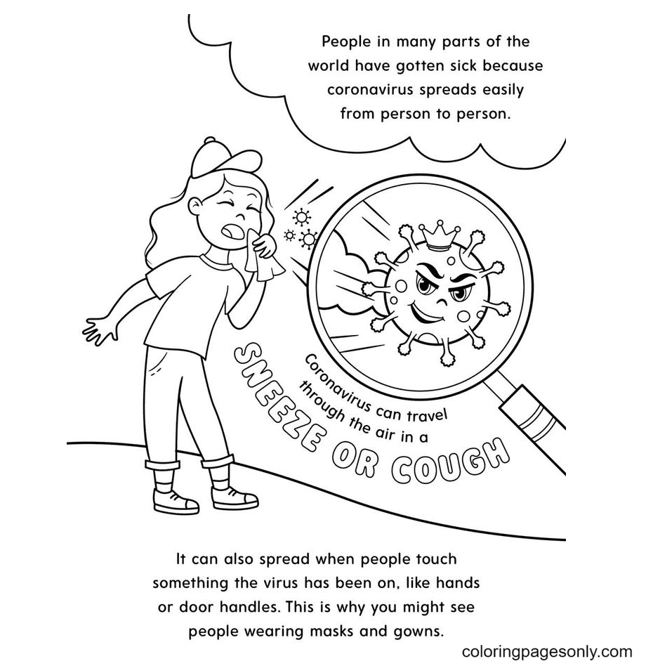 Dealing with the Coronavirus Pandemic Coloring Page