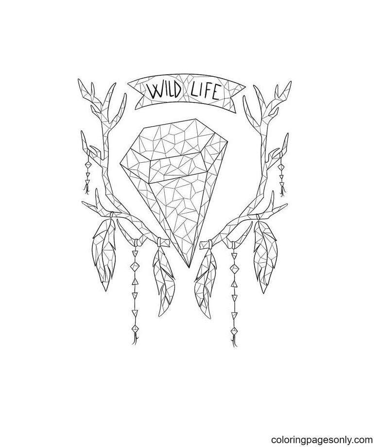 Decorative Crystals Coloring Page
