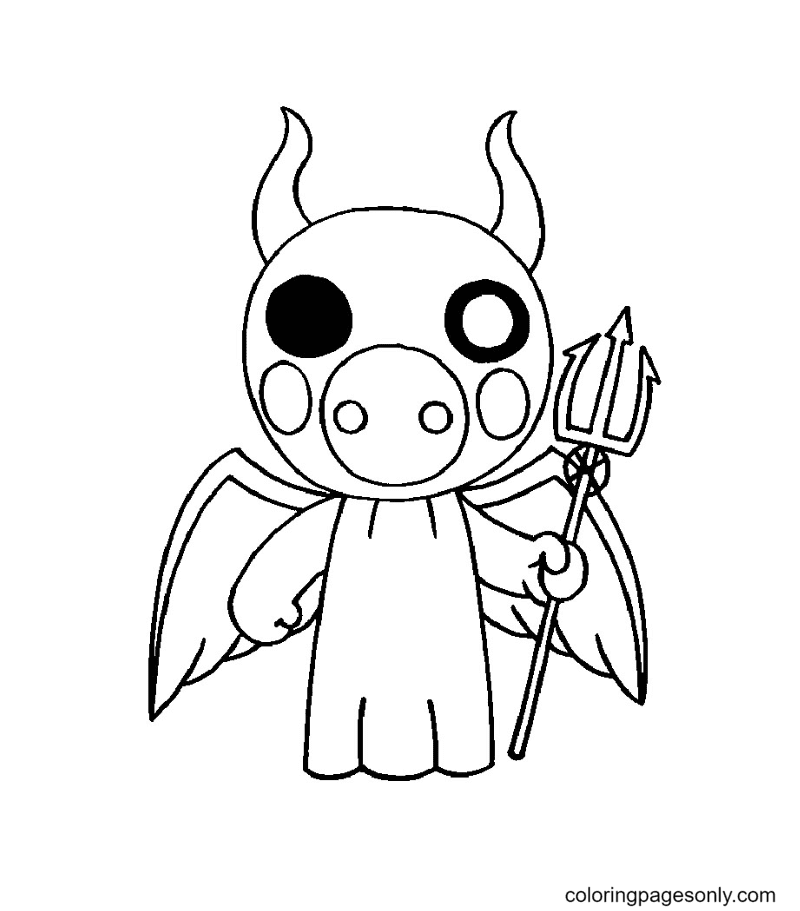 Devil Piggy Roblox Coloring Page