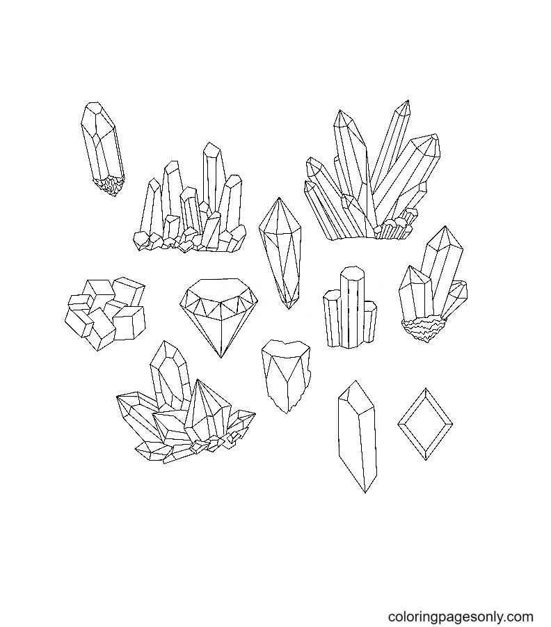 Different crystals set Coloring Page