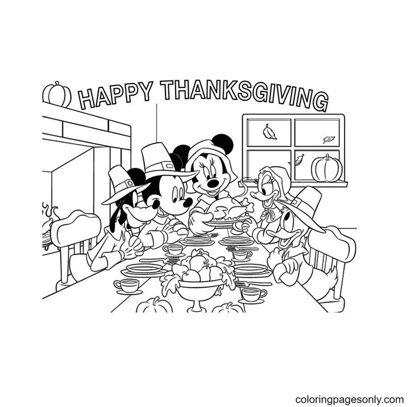 Disney Thanksgiving Coloring Page