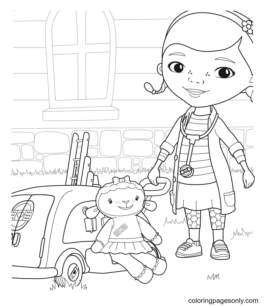 Doc McStuffins and Lambie Coloring Page