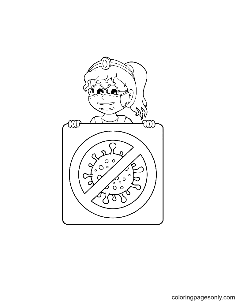 Doctor with sign theme Coloring Page
