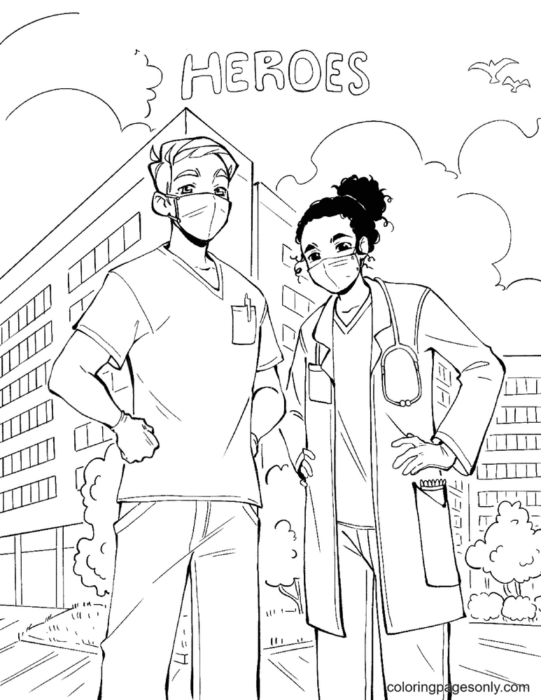 Doctors are Heroes Coloring Page