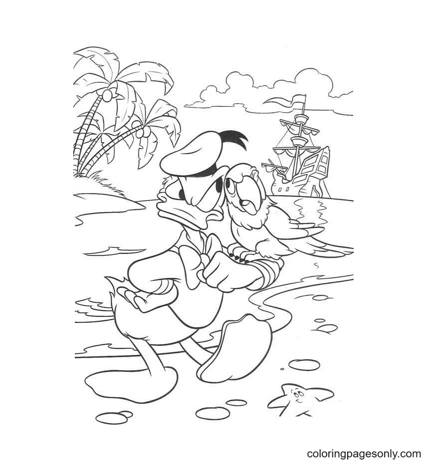 Donald And Bird Coloring Page