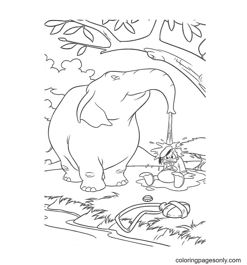 Donald And Elephant Coloring Page