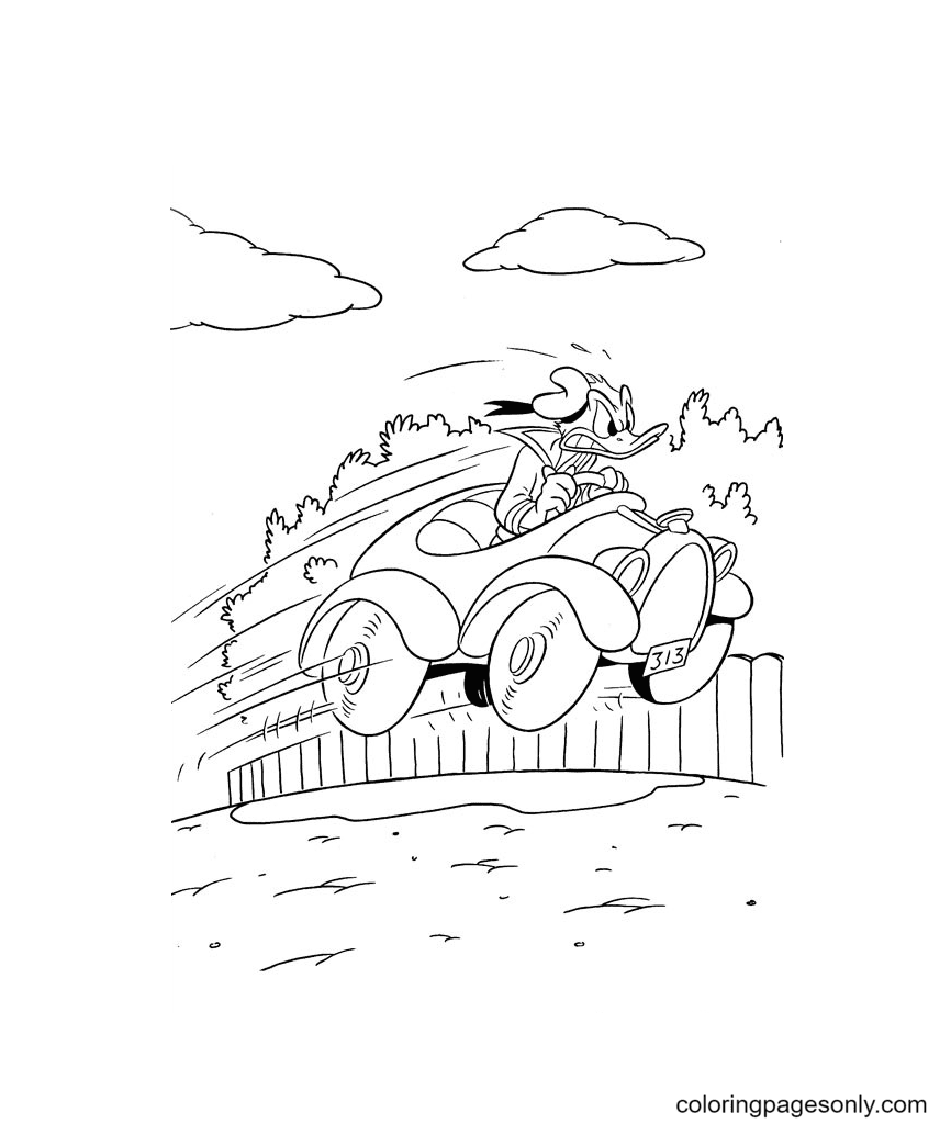 Donald Driving Car Coloring Page
