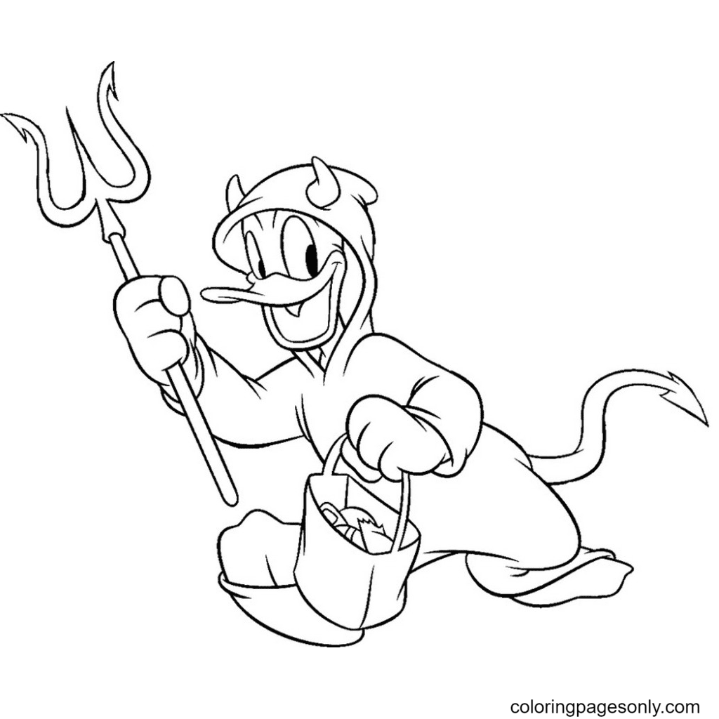 Donald Duck Halloween Coloring Page