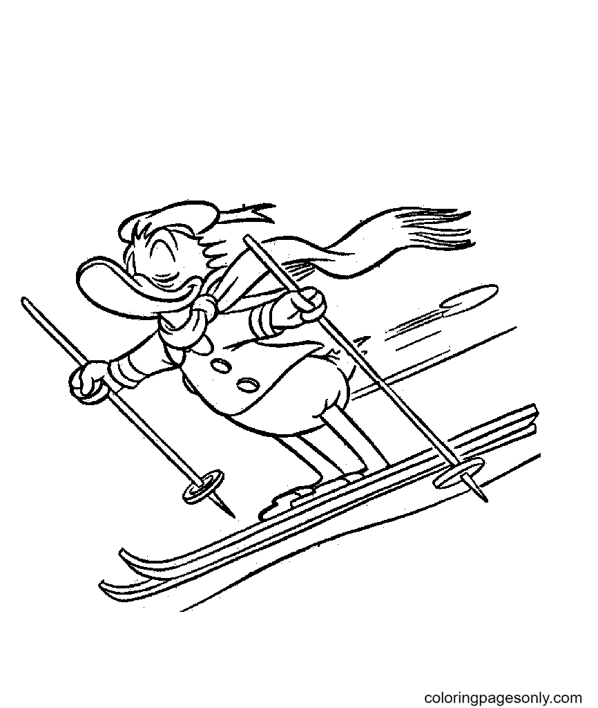 Donald Duck Skiing Coloring Page