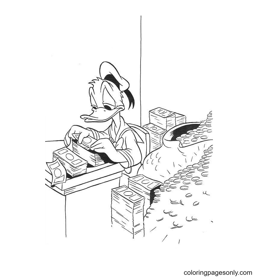 Donald Duck is Counting Money Coloring Page