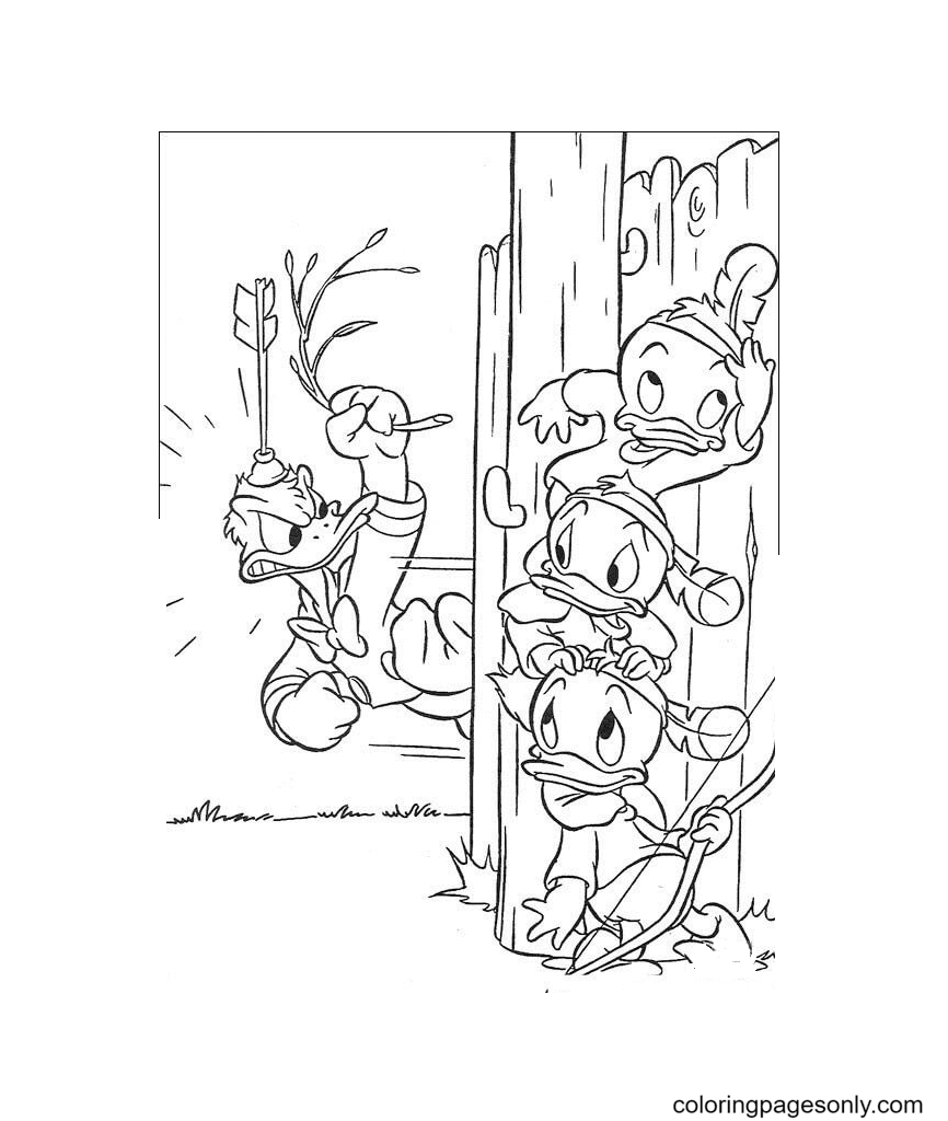 Donald Duck is angry with the Naughty Hunters Coloring Page