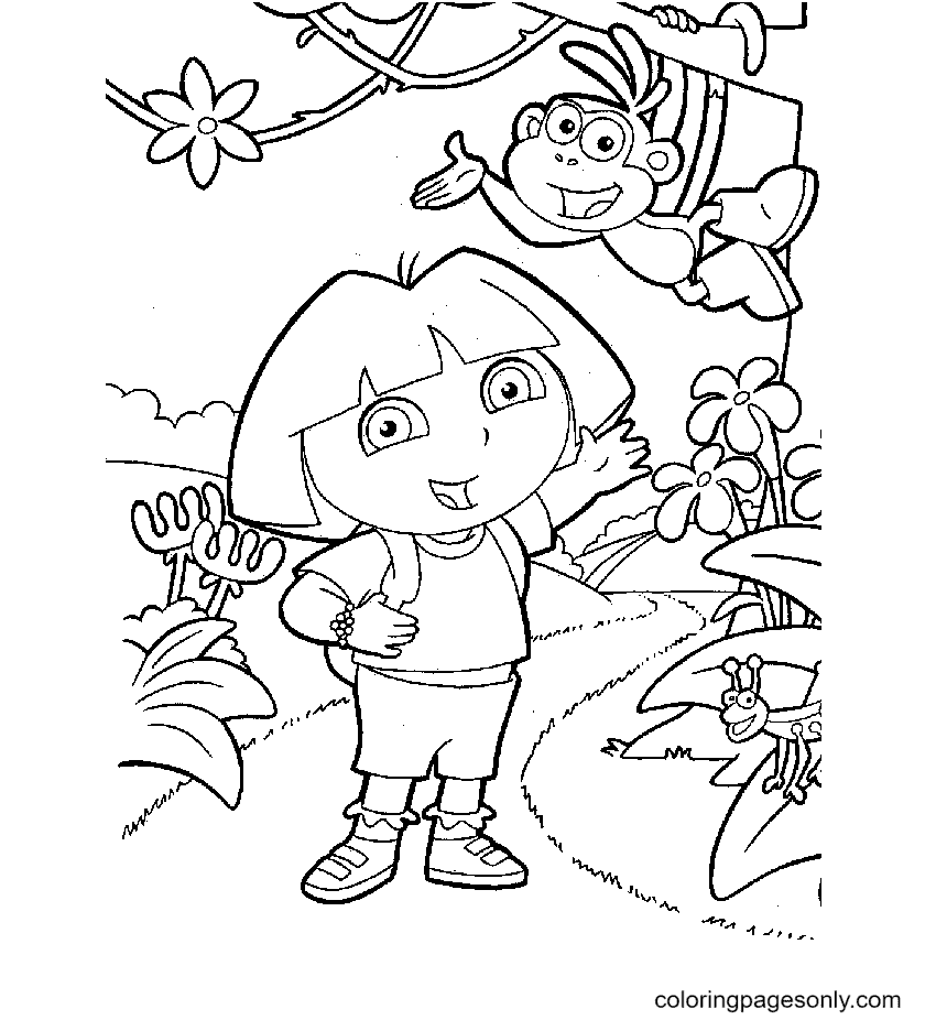 Dora And Boots Printable Coloring Page