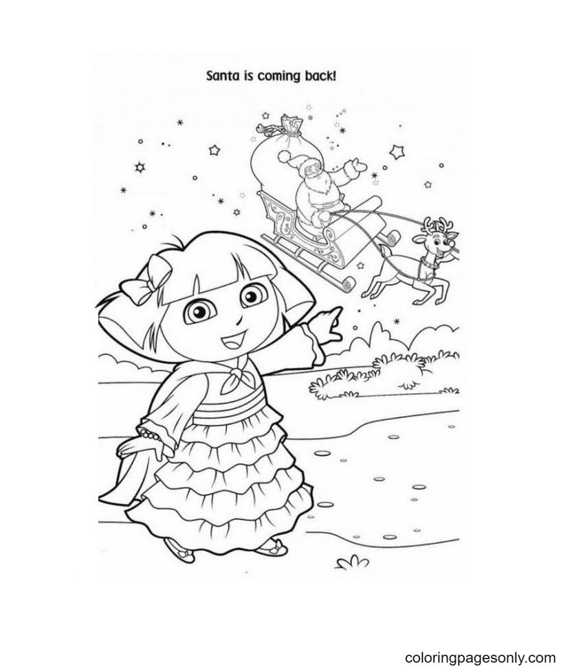 Dora And Santa Coloring Page